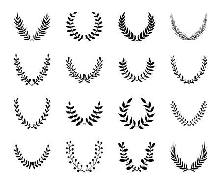foglie ulivo: Set di corone di alloro nero disegnato a mano isolato su bianco. Rami floreali. Premio, vincente. Cornici Silhouette. Illustrazione vettoriale.