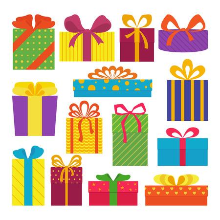 흰색 배경에 고립 된 귀여운 다채로운 선물 상자의 집합입니다. 엽서, 인사말 카드입니다. 크리스마스 선물, 판매. 벡터 일러스트 레이 션.
