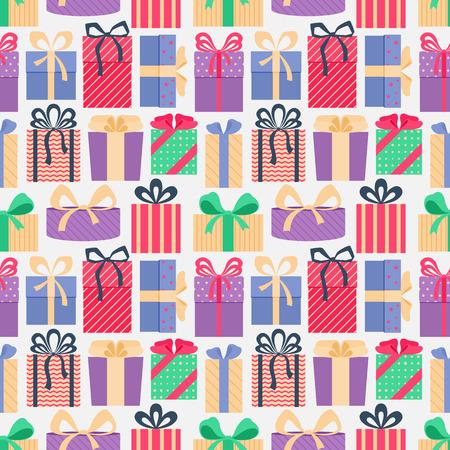 カラフルなギフト ボックス、明るい背景にシームレス パターン。クリスマス プレゼント。折り返し。抽象的な背景。ベクトルの図。