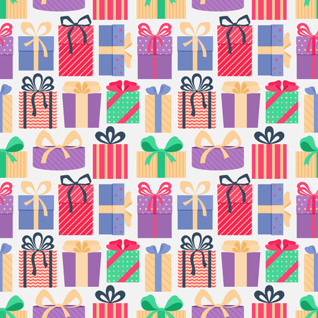 Seamless pattern with colorful gift boxes, on light background. Christmas gifts. Wrapping. Abstract background. Vector illustration.