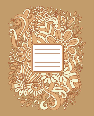 hand drawn frame: Floral hand drawn frame. Abstract doodle template for school notebook cover, wedding invitation, postcard. Ornamental pattern. Vector illustration. Illustration