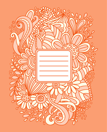 notebook cover: Floral hand drawn frame. Abstract doodle template for school notebook cover, wedding invitation, postcard. Ornamental pattern. Vector illustration. Illustration