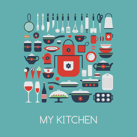 Set of kitchen utensils and food, isolated objects. Cookware, home cooking background. Kitchenware icons. Modern design. Vector illustration. Vectores