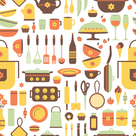 Seamless pattern of kitchen utensils and food. Cookware, home cooking background. Kitchenware. Modern design. Vector illustration.