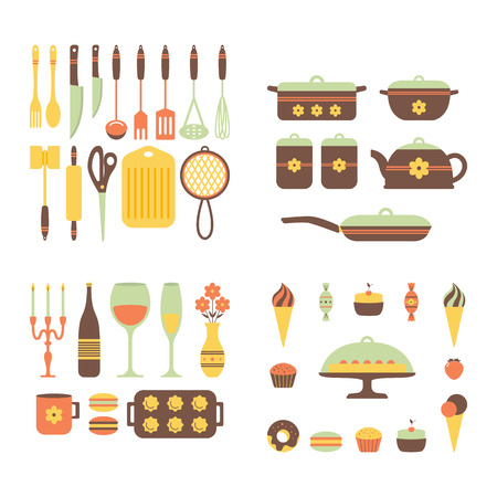 Set of kitchen utensils and food, isolated objects. Cookware, home cooking background. Kitchenware icons. Modern design. Vector illustration. Ilustracja