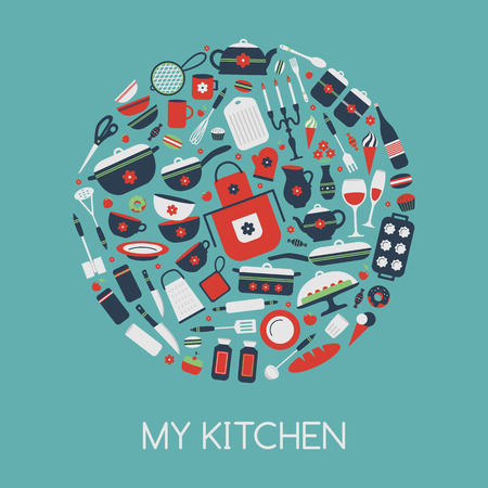 home cooking: Set of kitchen utensils and food, objects in circle. Cookware, home cooking background. Kitchenware icons. Modern design. Vector illustration.