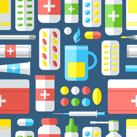 colds: Seamless pattern with medicines. Pills, vitamins, capsules, hot beverage, thermometer - first aid for colds. Disease and treatment. Medical background. Vector illustration.