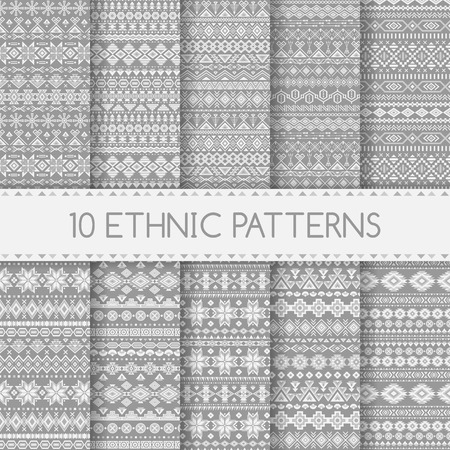 Set of ethnic seamless patterns. Aztec gray striped geometric backgrounds. Tribal, ethnic, navajo prints. Modern abstract wallpapers. Vector illustration. Swatches of seamless patterns included in the file.