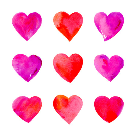 Set of watercolor hearts isolated on white. Valentine Day background. Love symbols. Vector illustration.