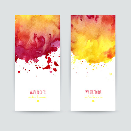 Set of two colorful business cards templates. Banners with handpainted watercolor splashes. Greeting cards, invitations, flyers. Vector illustration. Illustration