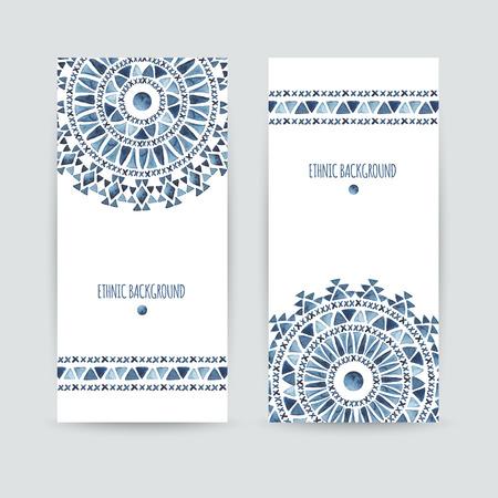 Set bestehend aus zwei ethnischen Banner. Visitenkarten-Vorlagen. Aztec Aquarellhintergründe. Grußkarten, Einladungen, Flyer. Vektor-Illustration.