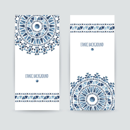 Set of two ethnic banners. Business cards templates. Aztec watercolor backgrounds. Greeting cards, invitations, flyers. Vector illustration.
