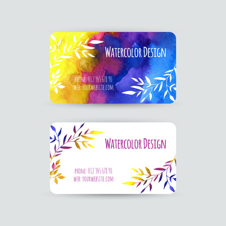 Business cards templates. Watercolor design. Cards with abstract watercolor stains and leaves. Invitations, flyers. Vector illustration. Vector