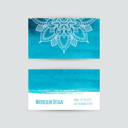 Business cards templates. Watercolor design. Cards with abstract watercolor stains and flowers. Aquamarine background. Invitations, flyers. Vector illustration. Vector