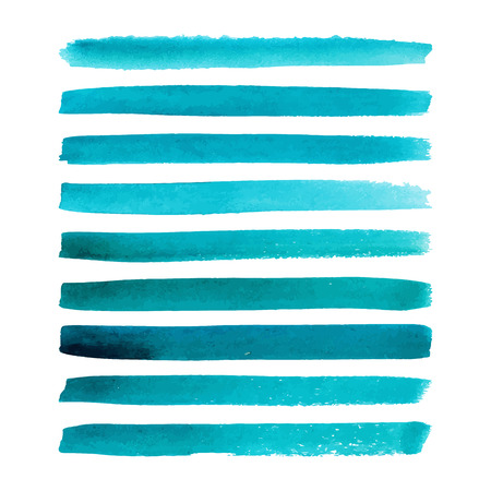 Set of watercolor hand painted stripes. Realistic vector graphics. Hand drawn watercolor elements for design. Aquamarine abstract vector strips on the white background. Vector illustration.