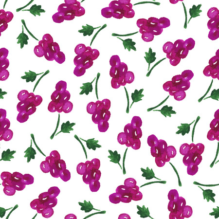 grape juice: Watercolor seamless pattern with grapes on the white background. Hand drawn background. Vector illustration. Illustration