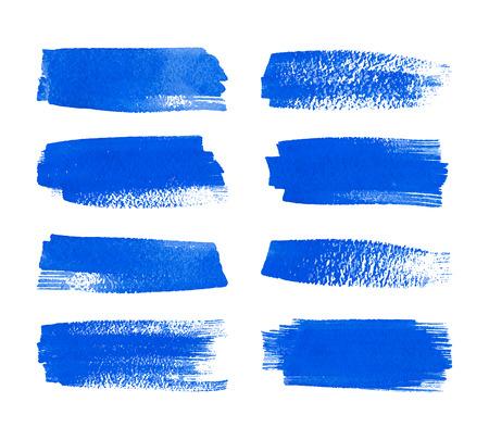 Set mit handgemalten Aquarell Streifen. Realistische Vektor-Grafiken. Hand gezeichnete Aquarell Elemente für Design. Blaue abstrakte Vektor-Streifen auf dem weißen Hintergrund. Aquarell Pinselstriche.