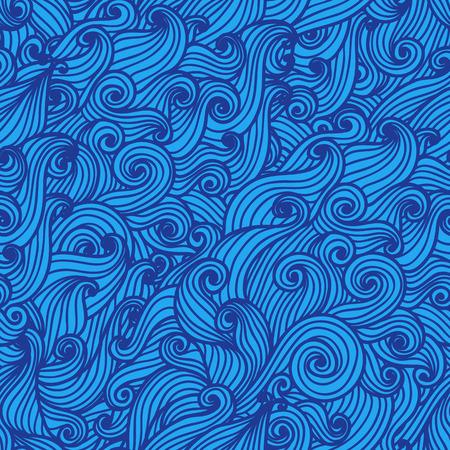 Wavy seamless pattern. Hand drawn curly background. Modern wallpaper. Sea waves. Vector illustration. Иллюстрация