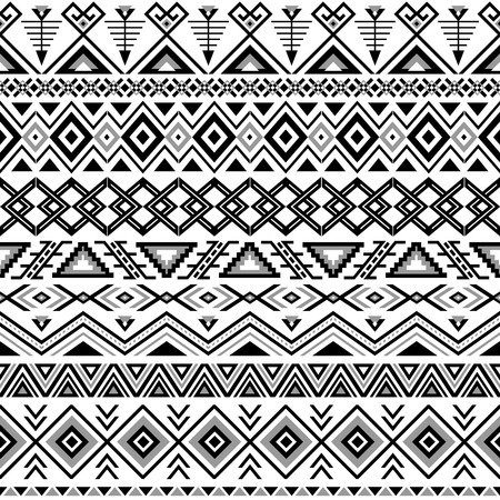 cultura maya: Modelo inconsútil étnico. Fondo blanco y negro azteca. Impresión navajo étnica tribal. Papel pintado abstracto moderno. Ilustración del vector.