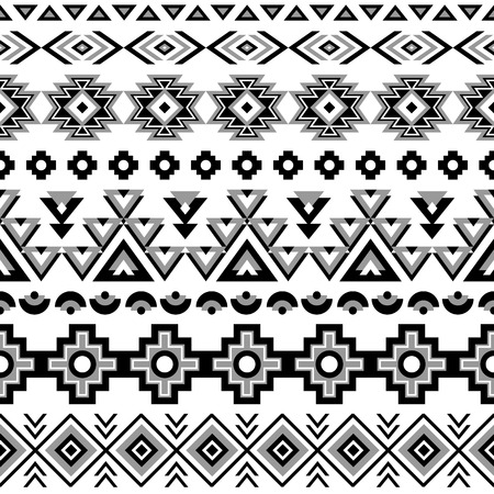 black american: Ethnic seamless pattern. Aztec black-white background. Tribal ethnic navajo print. Modern abstract wallpaper. Vector illustration.