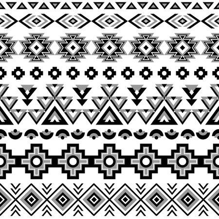 indio americano: Modelo inconsútil étnico. Fondo blanco y negro azteca. Impresión navajo étnica tribal. Papel pintado abstracto moderno. Ilustración del vector.