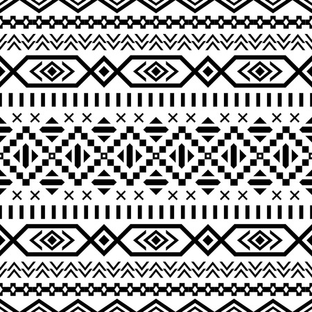 tribales: Modelo incons�til �tnico. Fondo blanco y negro azteca. Impresi�n navajo �tnica tribal. Papel pintado abstracto moderno. Ilustraci�n del vector.