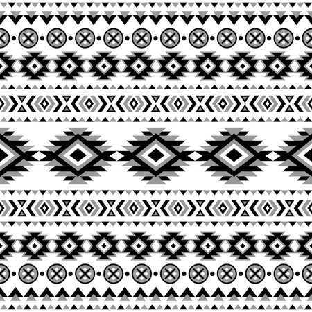 american indian aztec: Ethnic seamless pattern. Aztec black-white background. Tribal ethnic navajo print. Modern abstract wallpaper. Vector illustration.