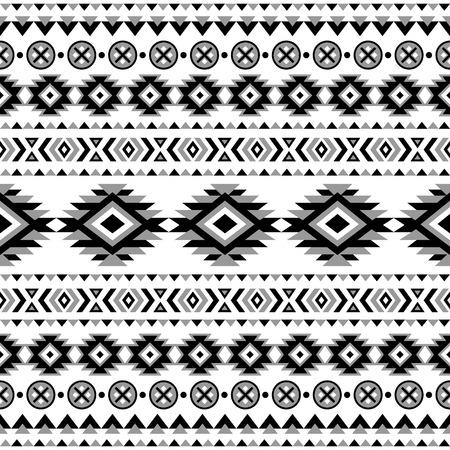 Modelo inconsútil étnico. Fondo blanco y negro azteca. Impresión navajo étnica tribal. Papel pintado abstracto moderno. Ilustración del vector. Ilustración de vector