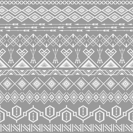 african grey: Ethnic seamless pattern. Aztec gray background. Tribal ethnic navajo print. Modern abstract wallpaper. Vector illustration.