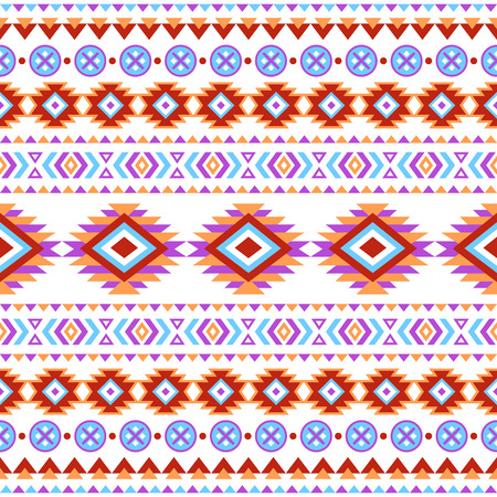 Ethnic seamless pattern. Aztec colorful striped background. Tribal ethnic navajo print. Modern abstract wallpaper. Soft colors. Vector illustration. Vector