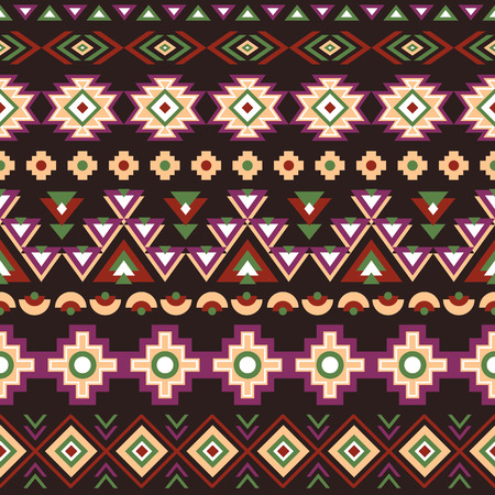 inca: Ethnic seamless pattern. Aztec colorful striped geometric background. Tribal ethnic navajo print. Modern abstract wallpaper. Dark colors. Vector illustration.