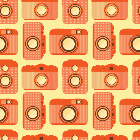 Seamless pattern with old cameras. Retro background. Repeat pattern, wrapping. Vector illustration. Vector