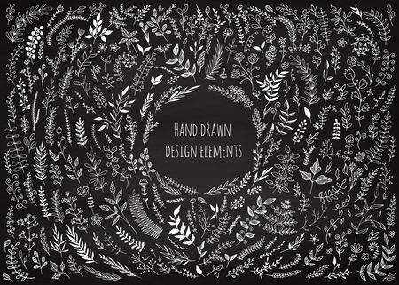 Set of floral elements on the chalkboard. Chalk elements for design, wedding decor. Vintage background. Sketch flowers and leaves. Greeting card. Vector illustration. Vettoriali