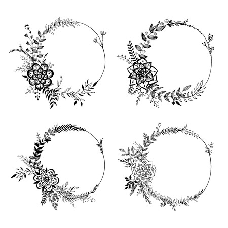 Set of floral wreaths isolated on white background. Hand drawn elements for wedding decor. Vintage frames. Sketch garlands. Greeting cards. Vector illustration.