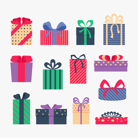 gift ribbon: Set of cute colorful gift boxes, isolated on gray background. Postcard, greeting card. Christmas gifts, sale. Vector illustration.