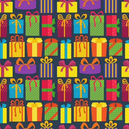 Seamless pattern with colorful gift boxes, on dark background. Christmas gifts. Wrapping. Abstract background. Vector illustration. Ilustracja