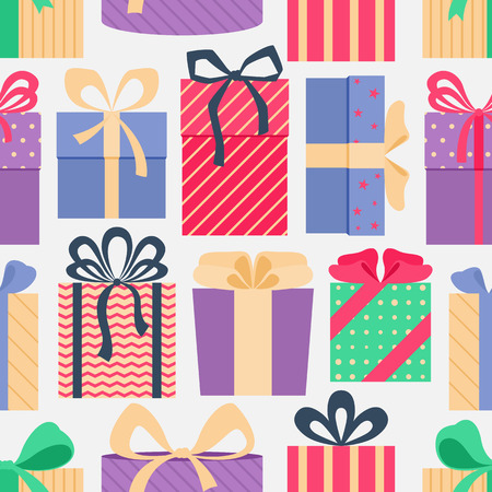 Seamless pattern with colorful gift boxes, on light background. Christmas gifts. Wrapping. Abstract background. Vector illustration. Vector