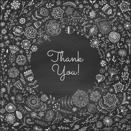 Chalk floral frame on the blackboard. Vignette of flowers. Template for wedding greeting card, invitation. Vector illustration. Illustration