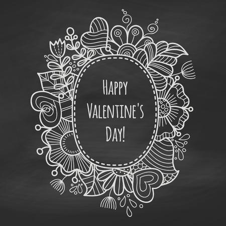 黒板にチョーク花のフレーム。バレンタインデーの背景。花のフレームです。ロマンチックなはがき、招待状のテンプレートです。ベクトルの図。