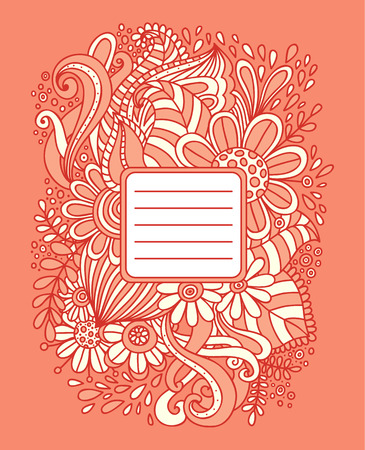 Floral hand drawn frame. Abstract doodle template for school notebook cover, wedding invitation, postcard. Ornamental pattern. Vector illustration. Vector