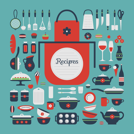Set of kitchen utensils and food, isolated objects. Background for a cookbook. Space for text and writing prescriptions. Cookware, home cooking background. Kitchenware icons. Modern design. Vector illustration.