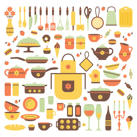 home cooking: Set of kitchen utensils and food, isolated objects. Cookware, home cooking background. Kitchenware icons. Modern design. Vector illustration. Illustration