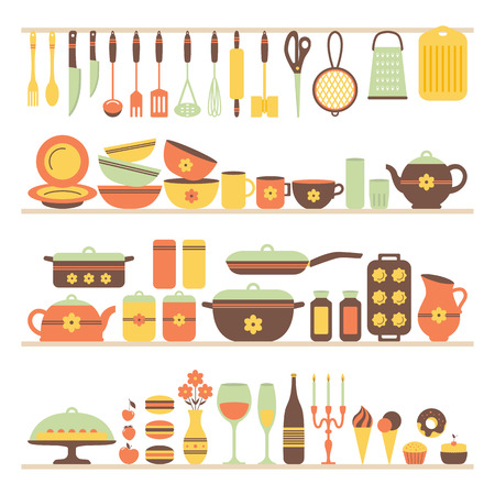 tools icon: Set of kitchen utensils and food, objects on shelves. Cookware, home cooking background. Kitchenware. Modern design. Vector illustration.