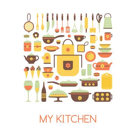 hausmannskost: Set von K�chenger�ten und Lebensmitteln, isolierte Objekte. Kochgeschirr, Hausmannskost Hintergrund. Geschirr Symbole. Modernes Design. Vektor-Illustration. Illustration