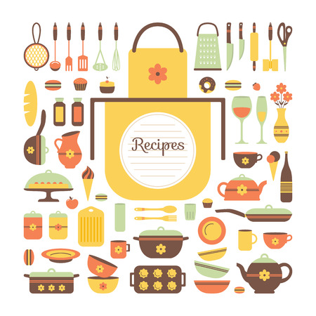 cooking utensils: Set of kitchen utensils and food, isolated objects. Background for a cookbook. Space for text and writing prescriptions. Cookware, home cooking background. Kitchenware icons. Modern design. Vector illustration.