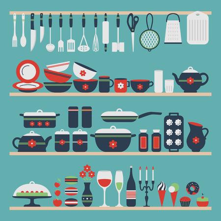 gospodarstwo domowe: Zestaw naczyń kuchennych i żywności, przedmiotów na półkach. Naczynia do gotowania, gotowanie w domu w tle. Przybory kuchenne. Nowoczesny design. Ilustracji wektorowych. Ilustracja