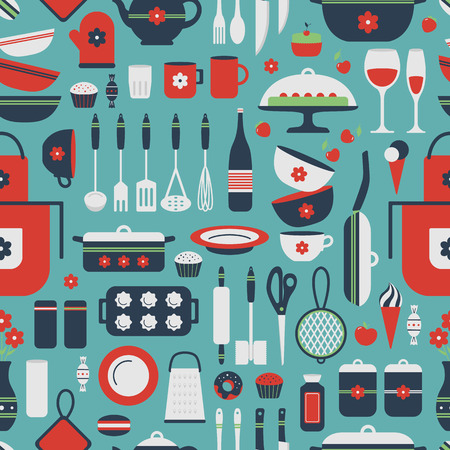 Seamless pattern of kitchen utensils and food. Cookware, home cooking background. Kitchenware. Modern design. Vector illustration. Vector