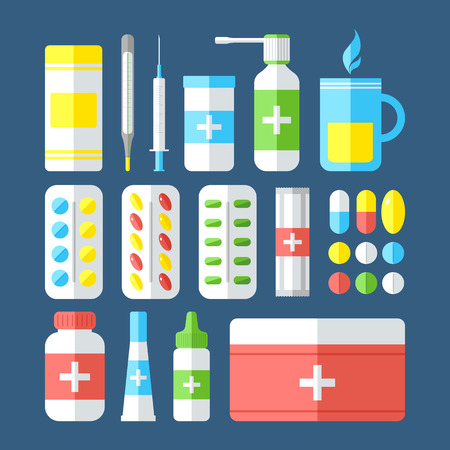 colds: Medicines isolated on dark background. Pills, vitamins, capsules, hot beverage, thermometer - first aid for colds. Disease and treatment. Medical background. Vector illustration.
