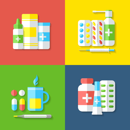 colds: Medicines. Pills, vitamins, capsules, hot beverage, thermometer - first aid for colds. Disease and treatment. Medical background. Vector illustration.