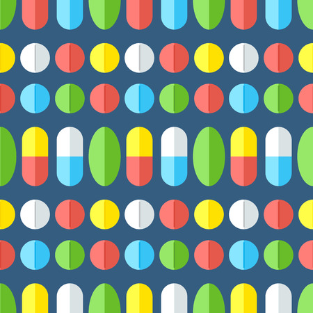 drugs pills: Seamless pattern with medicines. Pills, vitamins, capsules - first aid for colds. Disease and treatment. Medical background. Vector illustration.